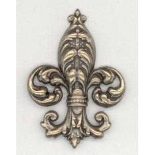 ^Bold Fleur-de-Lys Oxidized Brass Stamping (1)