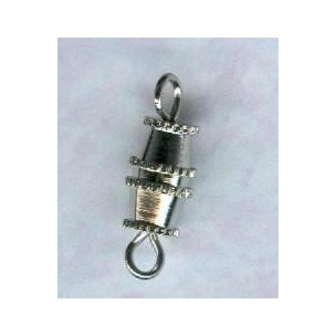 ^Vintage Style Barrel Clasps Silver 15mm (6)