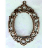 ^Openwork Floral Edge Setting 25x18mm Oxidized Copper