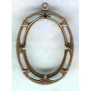 Art Deco Style 25x18mm Open Back Setting Oxidized Copper