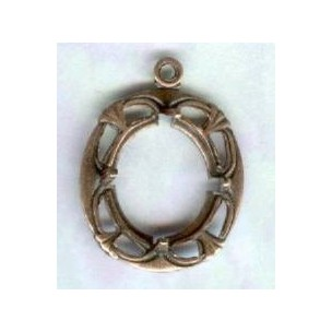 Art Deco Style 12x10mm Setting Oxidized Copper