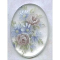 Floral Decal Cabochon 25x18mm German Made