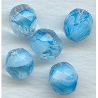 Aqua White and Crystal Round Faceted Beads 8mm