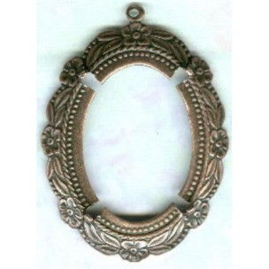 ^Floral Beaded Edge Setting Oval 30x22mm Oxidized Copper (1)