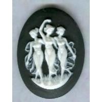 ^Three Muses Cameo White on Black 40x30mm (1)