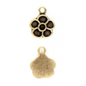 ^Daisies Solid Back Pendants Oxidized Brass