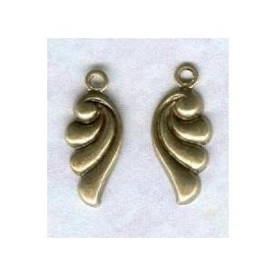 ^Art Nouveau Right & Left Scallop Drops Oxidized Brass