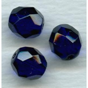 Cobalt Blue Fire Polished Round Faceted Beads 8mm