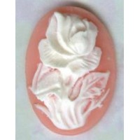 Rose Cameos 25x18mm Ivory on Angel Skin