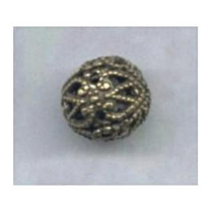 Round Filigree Beads 8mm Oxidized Brass (12)
