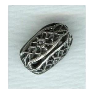 Filigree Barrel Shape Beads Oxidized Silver (6)