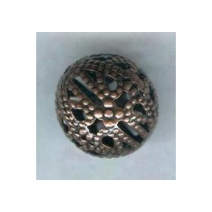 Dramatic Filigree Beads 12mm Round Oxidized Copper (12)