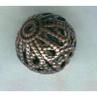 Dramatic Filigree Beads 10mm Round Oxidized Copper (12)