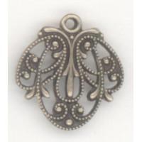 European Filigree Pendant 16mm Oxidized Brass