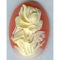 Cameos 25x18mm Ivory Rose on Carnelian Background