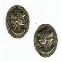 Cameos in Oxidized Brass Right and Left Facing