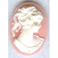 Cameos Girl in a Ponytail White on Angel Skin 25x18mm