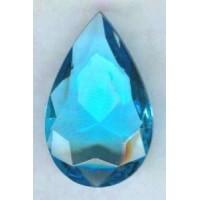 Aquamarine Glass Pear Unfoiled 32x20mm