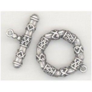 ^Cast Pewter Fancy Bar and Toggle Set Oxidized Silver