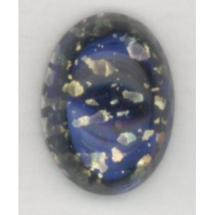 ^Dark Blue Glass Opal Cabochon German 14x10mm