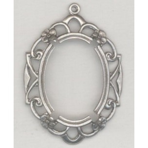 ^Openwork Floral Edge Setting 25x18mm Oxidized Silver (1)