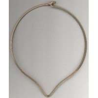 ^Neck Ring Oxidized Brass V Front Square Wire