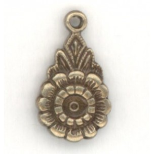 Floral Pendant with 3mm Setting Well Oxidized Brass (12)