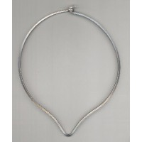 ^Neck Ring Oxidized Silver V Front Square Wire