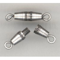 Slender Barrel Clasps Oxidized Silver 17mm (6)