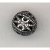 Filigree Beads 8mm Round Oxidized Silver (12)