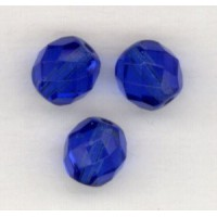 ^Sapphire Fire Polished Round Faceted Beads 8mm ^