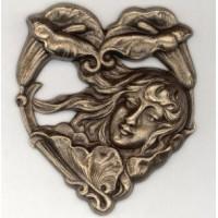 Art Nouveau Girl Calla Lilies Stamping Oxidized Brass