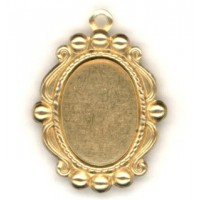 Ornate Bead Edge Pendant Setting 14x10mm Raw Brass