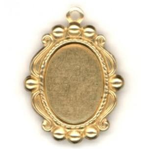 Ornate Bead Edge Pendant Setting 14x10mm Raw Brass