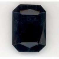 ^Jet Glass Jewelry Stone Octagon Unfoiled 25x18mm