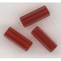 Ruby Czech Glass Hex Tube Beads 10x4mm