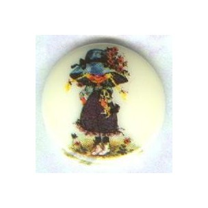 Vintage Holly Hobbie Girl Round Cabochon 18mm ^