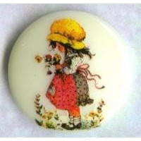 Vintage Holly Hobbie Girl Round Cabochon 18mm