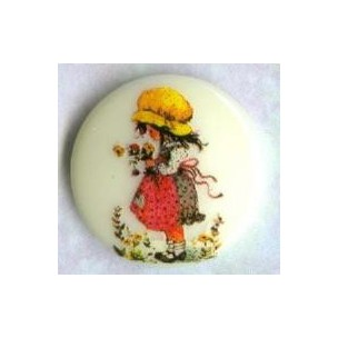 ^Vintage Holly Hobbie Girl Round Cabochon 18mm