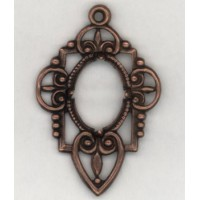 ^Elegant Openwork 14x10mm Setting Oxidized Copper (1)
