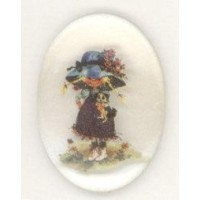 Vintage Holly Hobbie Girl Cabochon 25x18mm