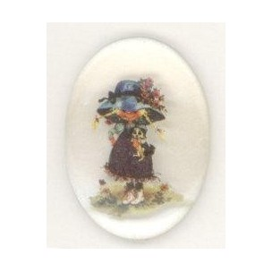 ^Vintage Holly Hobbie Girl Cabochon 25x18mm
