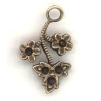 Flower and Leaf Sprays to Hold Rhinestones Brass