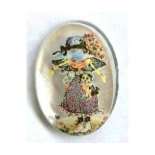 ^Vintage Holly Hobbie Frosted Cabochon 18x13mm