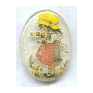 Vintage Holly Hobbie Frosted Cabochon 18x13mm ^
