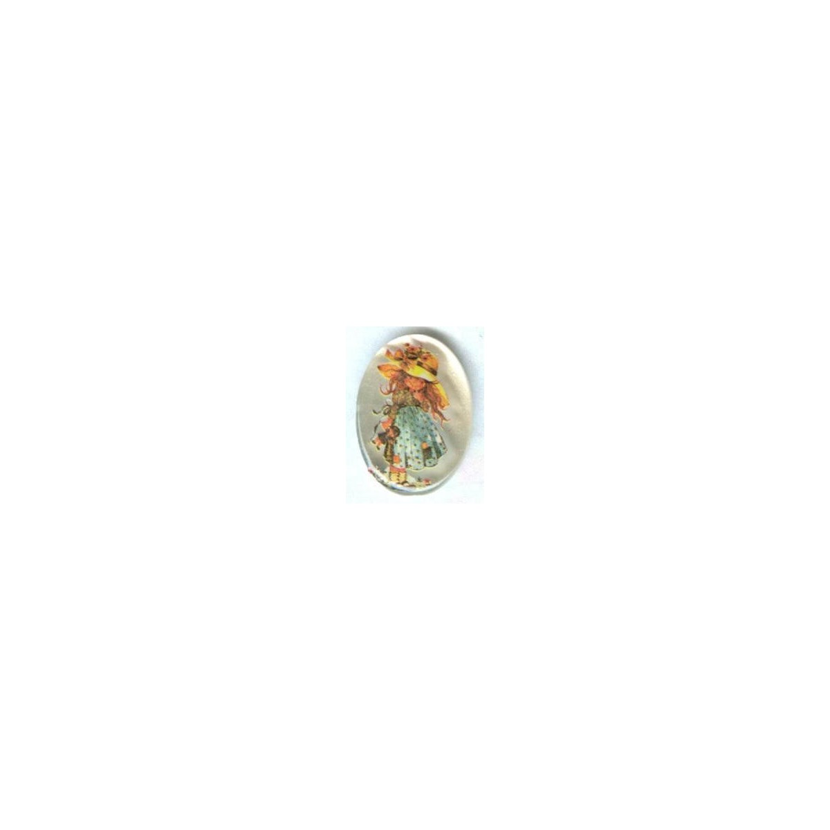 Vintage Holly Hobbie Frosted Cabochon 18x13mm