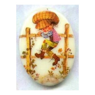 ^Vintage Holly Hobbie Cabochon 18x13mm