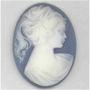 ^Cameo Girl in a Ponytail Pale Ivory on Blue 40x30mm