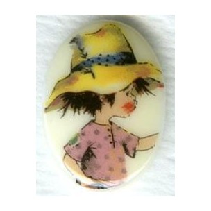 Vintage Holly Hobbie Boy Cabochon 18x13mm ^