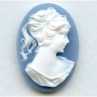 Cameos Girl in a Ponytail White on Blue 25x18mm